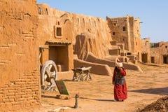 Wederopbouw van de hoofdstad van Gouden Horde sarai-Batu stock afbeelding