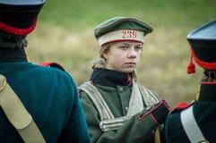 Wederopbouw van de slag van Russische en Napoleonic troepen dichtbij de Russische stad van Maloyaroslavets 23 Oktober, 2016 Royalty-vrije Stock Foto's