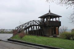 Wederopbouw van de vesting van Poltava in eeuw 18 royalty-vrije stock foto