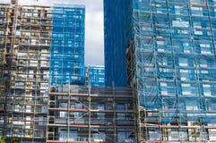 Wederopbouw van de voorgevel van een modern flatgebouw Royalty-vrije Stock Afbeelding