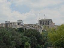 Wederopbouw van Griekse Parthenon stock foto's