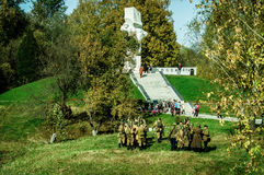 Wederopbouw van slag van Wereldoorlog 2 van 1941 in het Kaluga-gebied van Rusland Royalty-vrije Stock Afbeelding