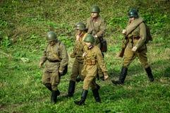 Wederopbouw van slag van Wereldoorlog 2 van 1941 in het Kaluga-gebied van Rusland Stock Fotografie