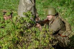 Wederopbouw van slag van Wereldoorlog 2 van 1941 in het Kaluga-gebied van Rusland Stock Foto