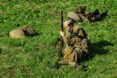 Wederopbouw van slag van Wereldoorlog 2 van 1941 in het Kaluga-gebied van Rusland Royalty-vrije Stock Afbeeldingen