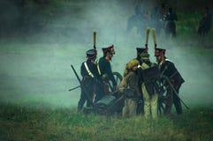 Wederopbouw van slagen van de Patriottische oorlog van 1812 Russische stad Maloyaroslavets Stock Afbeeldingen