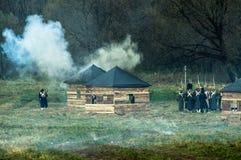 Wederopbouw van slagen van de Patriottische oorlog van 1812 Russische stad Maloyaroslavets Royalty-vrije Stock Afbeeldingen