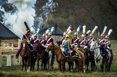 Wederopbouw van slagen van de Patriottische oorlog van 1812 Russische stad Maloyaroslavets Royalty-vrije Stock Foto