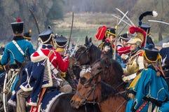 Wederopbouw van slagen van de Patriottische oorlog van 1812 Russische stad Maloyaroslavets Royalty-vrije Stock Foto's