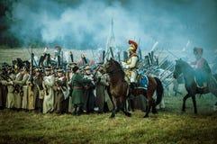 Wederopbouw van slagen van de Patriottische oorlog van 1812 Russische stad Maloyaroslavets Stock Fotografie