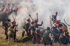 Wederopbouw van slagen van de Patriottische oorlog van 1812 Russische stad Maloyaroslavets Stock Afbeelding