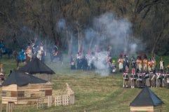 Wederopbouw van slagen van de Patriottische oorlog van 1812 Russische stad Maloyaroslavets Stock Foto