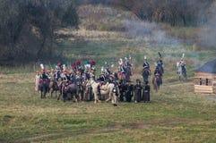 Wederopbouw van slagen van de Patriottische oorlog van 1812 Russische stad Maloyaroslavets Royalty-vrije Stock Fotografie