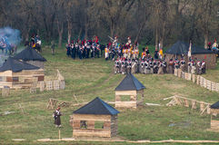 Wederopbouw van slagen van de Patriottische oorlog van 1812 Russische stad Maloyaroslavets Stock Foto's