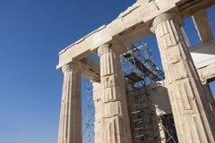 Wederopbouw van Tempel Athena Nike in Akropolis Royalty-vrije Stock Foto's