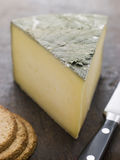 Wedge of Cornish Yarg Cheese with Oatmeal Biscuits Stock Images