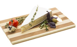Wedge of Gourmet Brie Cheese Royalty Free Stock Photos