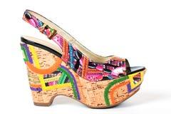 Wedge-heeled woman shoe on the white Stock Photo