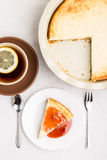 Wedge of homemade cheesecake with tea Stock Photography