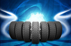 Wedge of new car wheels. Abstract background is Stock Photography