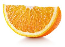Wedge of orange citrus fruit isolated on white. Sweet slice of orange citrus fruit isolated on white background with clipping path. Full depth of field royalty free stock image