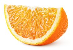 Wedge of orange citrus fruit isolated on white stock photo