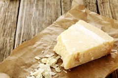 Wedge of parmigiano reggiano cheese Stock Photos