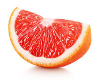 Wedge of pink grapefruit citrus fruit isolated on white. Ripe slice of pink grapefruit citrus fruit isolated on white background with clipping path Royalty Free Stock Photography