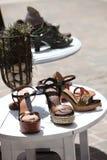 Wedge Sandals Outdoor Display Stock Photo