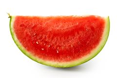 Wedge of seedless watermelon isolated on white. royalty free stock image
