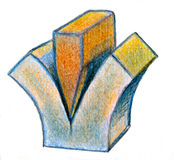 Wedge splitting cube. Abstract wedge splitting cube in half Stock Photography