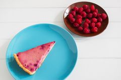 Currant tart blue plate. Wedge summer currant tart blue brown plate white wooden background Royalty Free Stock Photo