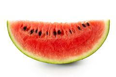 Wedge of watermelon with seeds isolated on white. royalty free stock photos