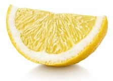 Wedge of yellow lemon citrus fruit isolated on white stock photos