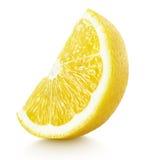 Wedge of yellow lemon citrus fruit isolated on white Stock Photo