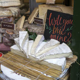 Wedges of Brie Cheese on sale at Borough Market, North Tyneside, England, UK Royalty Free Stock Photos
