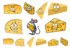 Wedges of happy cartoon cheese with a mouse Stock Photography