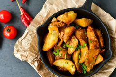Wedges  potatoes Stock Images