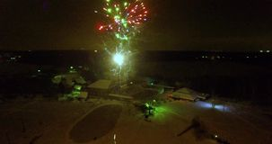 Weding aerial fireworks stock video footage
