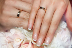 Weding nails. Beautiful woman`s nails with beautiful french manicure. Weding nails Royalty Free Stock Photo
