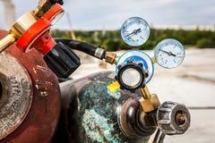 Wedling gas och tryckmätareventil Arkivbilder