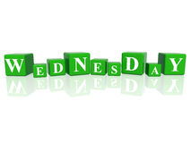 Wednesday in 3d cubes. 3d green cubes with letters makes wednesday Stock Photography
