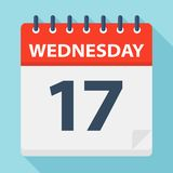 Wednesday 17 - Calendar Icon. Vector illustration of week day paper leaf. Wednesday 17 - Calendar Icon - Vector Illustration royalty free illustration
