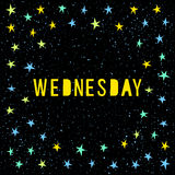 Wednesday card template. Handmade childish angular applique star Royalty Free Stock Image