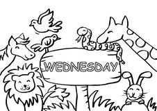 Wednesday Coloring Page with Animals. Cartoon style Royalty Free Stock Images