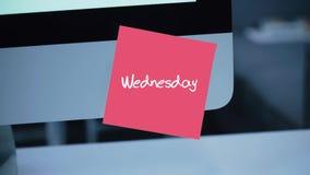 wednesday Dagar av veckan Inskriften på klistermärken på bildskärmen stock illustrationer