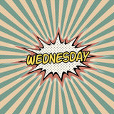 Wednesday day week, Comic sound effect. Pop art banner, Bubble speech word vector cartoon expression. Wednesday day of the week rays Stock Photo