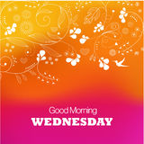 Wednesday. Days of the Week. Wednesday. Text good morning Wednesday on a purple background Stock Photography