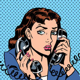 Wednesday girl on two phones running bond. Secretary office Manager. The Manager answers the phone load stress Stock Photo