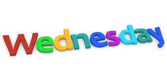 Wednesday. Illustrated colorful word Wednesday on a white background Stock Photos